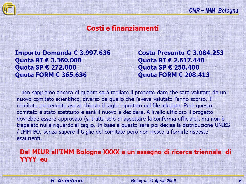 Costi e finanziamenti Importo Domanda € 3.997.636 Costo Presunto € 3.084.253. Quota RI € 3.360.000 Quota RI € 2.617.440.