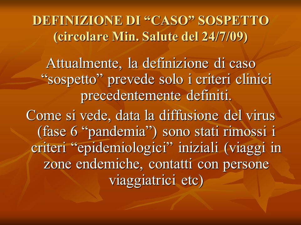 DEFINIZIONE DI CASO SOSPETTO (circolare Min. Salute del 24/7/09)