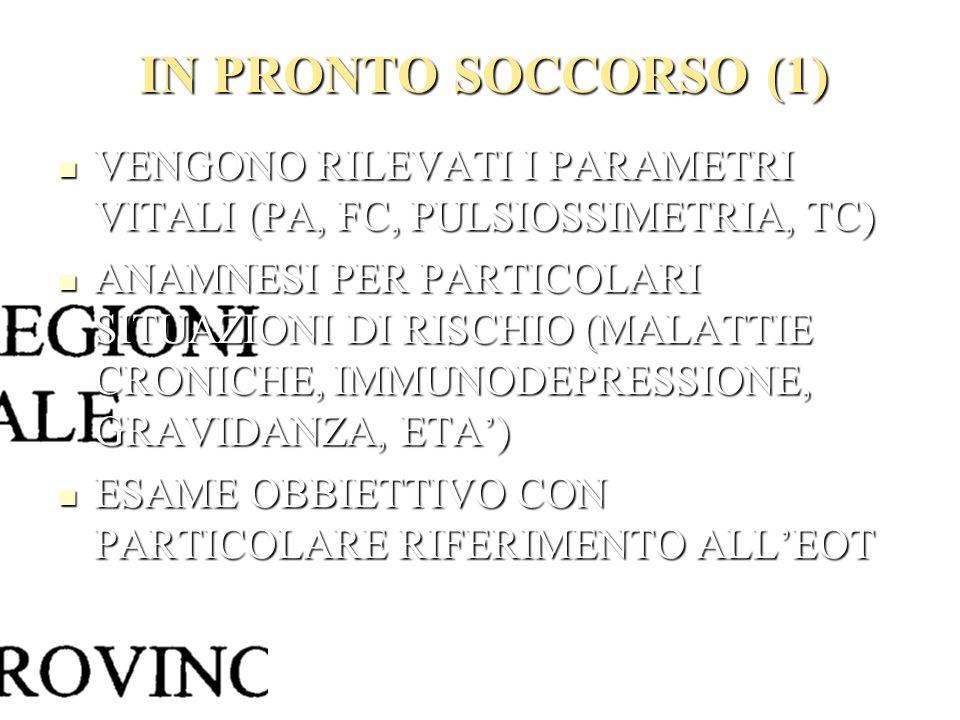 IN PRONTO SOCCORSO (1) VENGONO RILEVATI I PARAMETRI VITALI (PA, FC, PULSIOSSIMETRIA, TC)