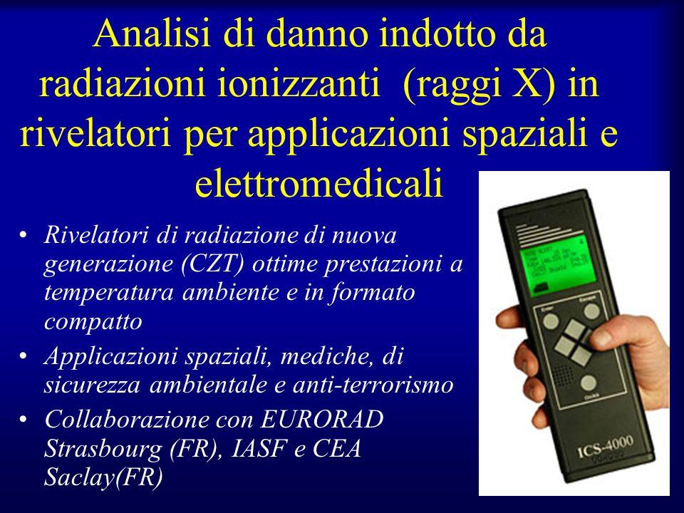 Analisi di danno indotto da radiazioni ionizzanti (raggi X) in rivelatori per applicazioni spaziali e elettromedicali