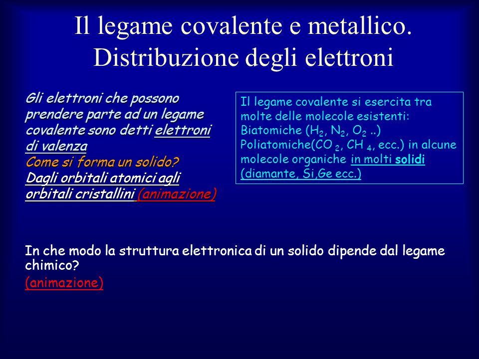 Il legame covalente e metallico. Distribuzione degli elettroni