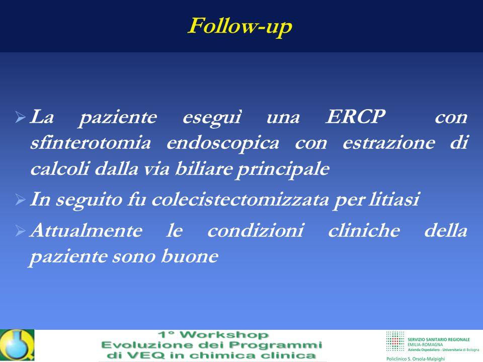 Follow-up La paziente eseguì una ERCP con sfinterotomia endoscopica con estrazione di calcoli dalla via biliare principale.