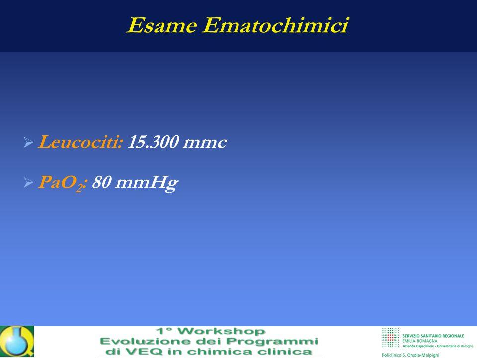 Esame Ematochimici Leucociti: 15.300 mmc PaO2: 80 mmHg