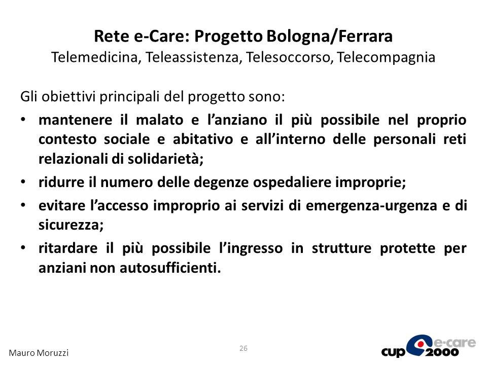 Rete e-Care: Progetto Bologna/Ferrara Telemedicina, Teleassistenza, Telesoccorso, Telecompagnia