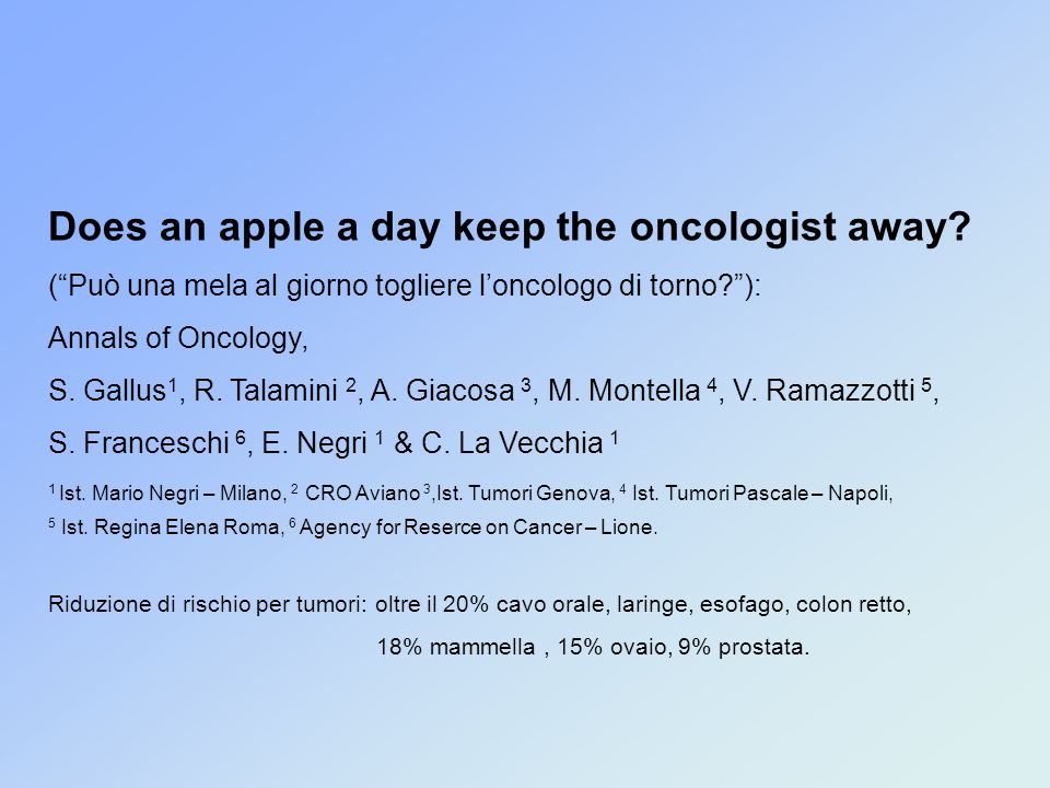 Does an apple a day keep the oncologist away