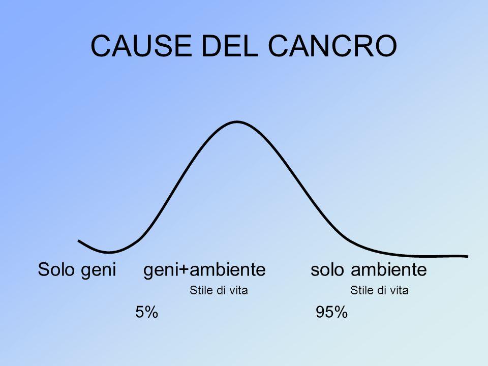 CAUSE DEL CANCRO Solo geni geni+ambiente solo ambiente 5% 95%