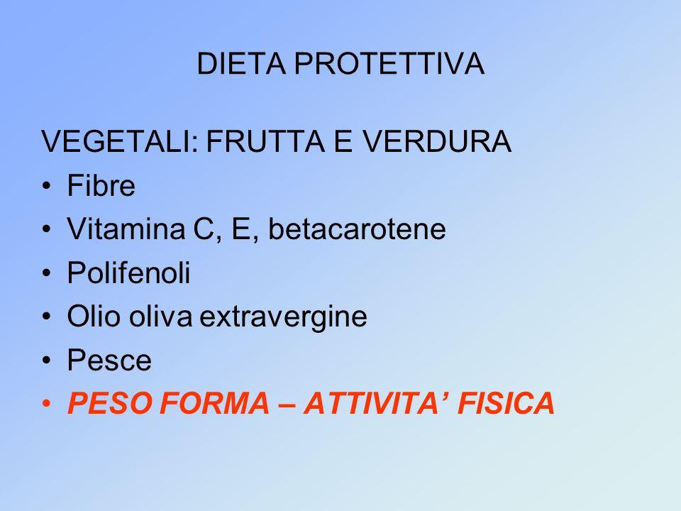 DIETA PROTETTIVA VEGETALI: FRUTTA E VERDURA. Fibre. Vitamina C, E, betacarotene. Polifenoli. Olio oliva extravergine.