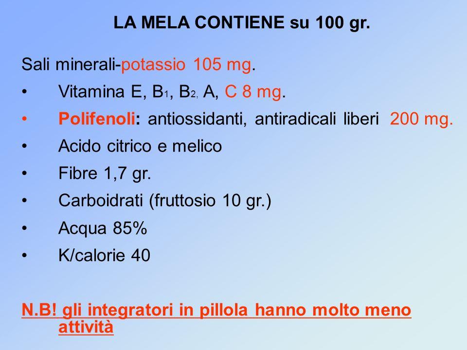 LA MELA CONTIENE su 100 gr. Sali minerali-potassio 105 mg. Vitamina E, B1, B2, A, C 8 mg. Polifenoli: antiossidanti, antiradicali liberi 200 mg.