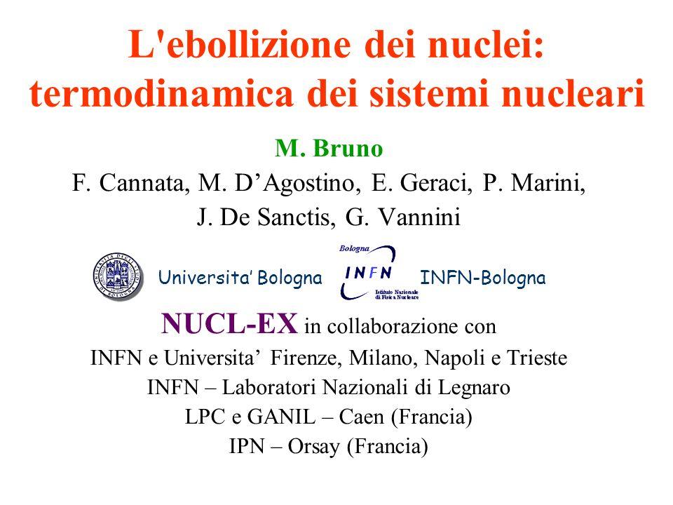 L ebollizione dei nuclei: termodinamica dei sistemi nucleari