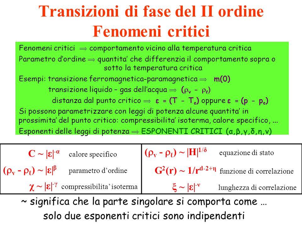 Transizioni di fase del II ordine Fenomeni critici