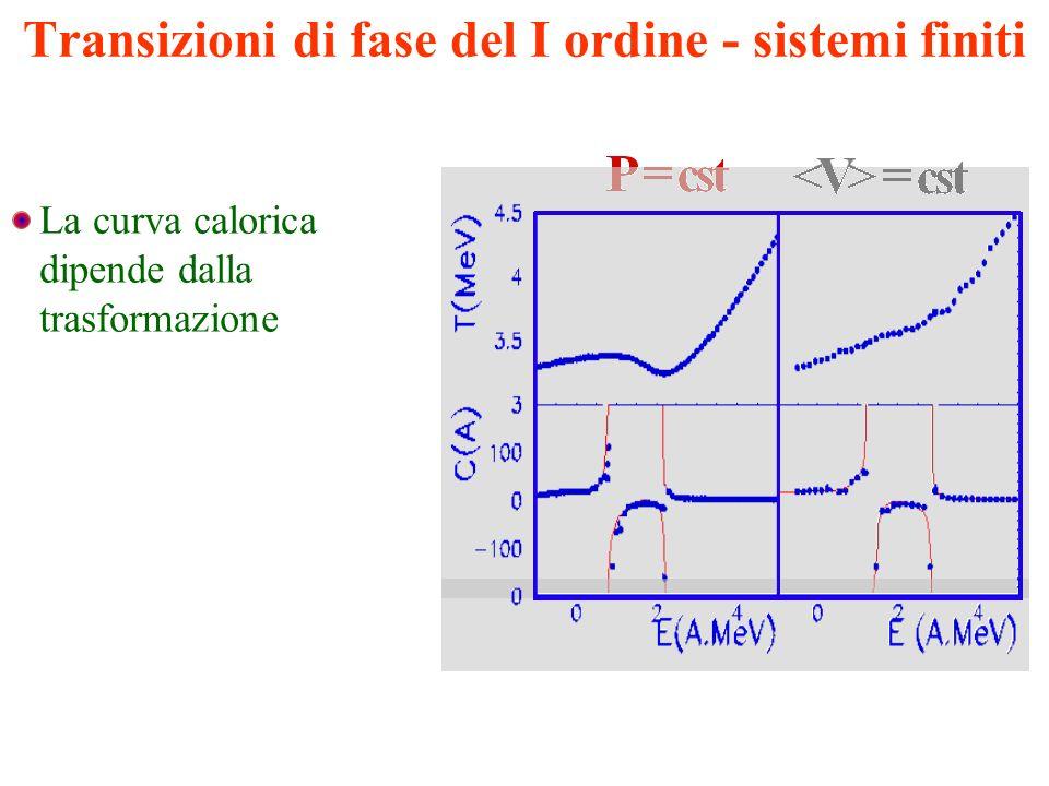 Transizioni di fase del I ordine - sistemi finiti