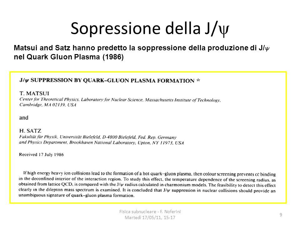 Fisica subnucleare - F. Noferini Martedì 17/05/11, 15-17