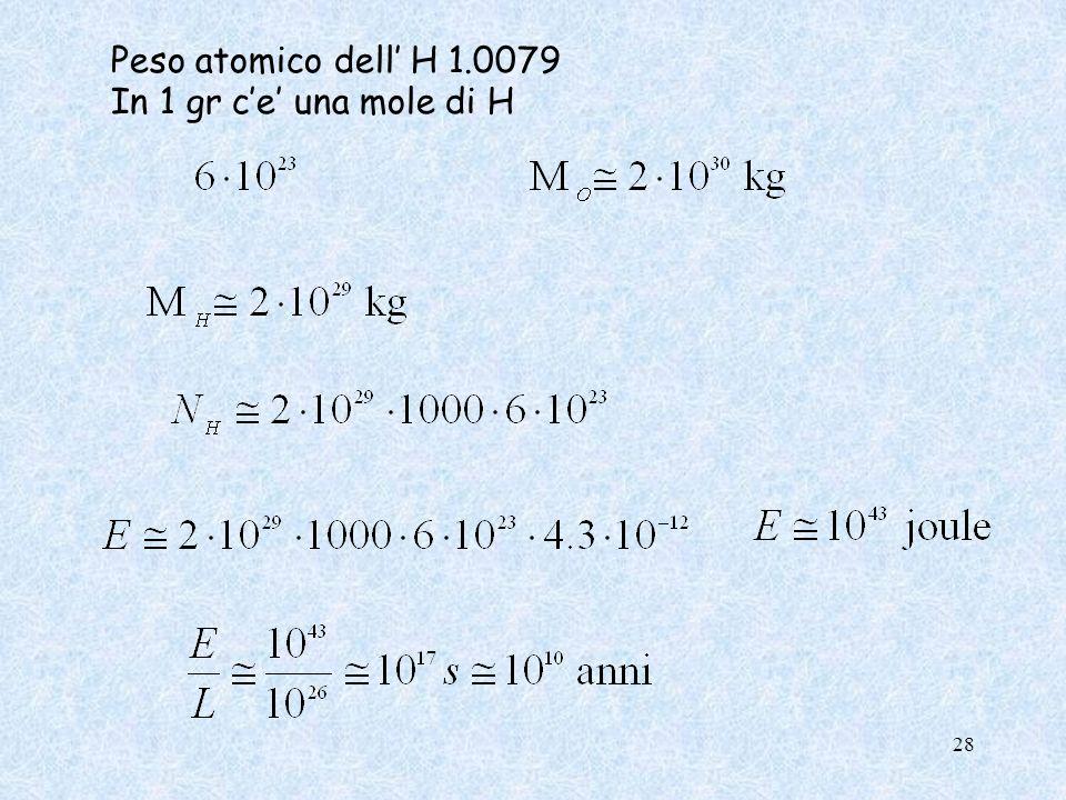 Peso atomico dell' H 1.0079 In 1 gr c'e' una mole di H