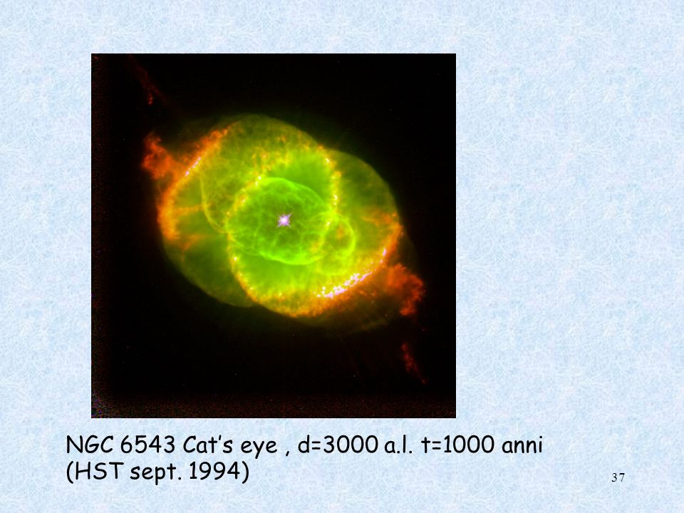 NGC 6543 Cat's eye , d=3000 a.l. t=1000 anni (HST sept. 1994)