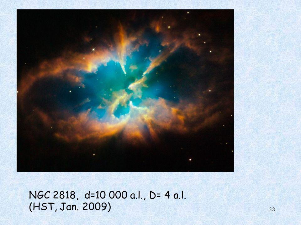 NGC 2818, d=10 000 a.l., D= 4 a.l. (HST, Jan. 2009)