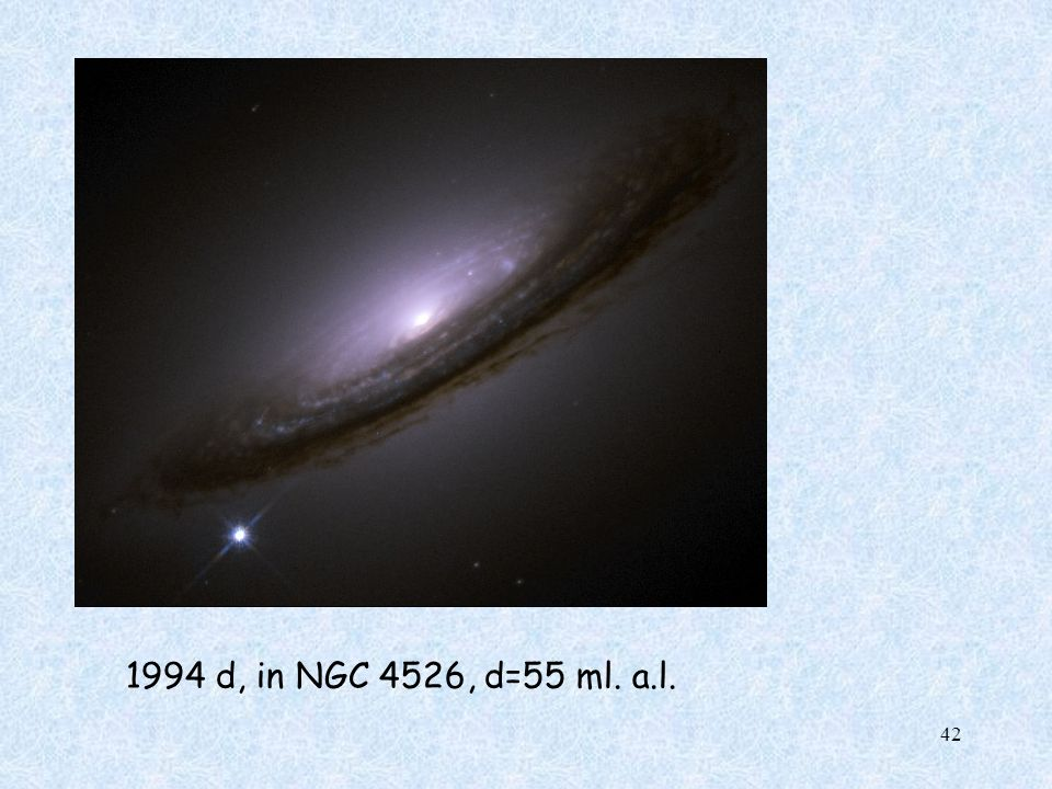 1994 d, in NGC 4526, d=55 ml. a.l.