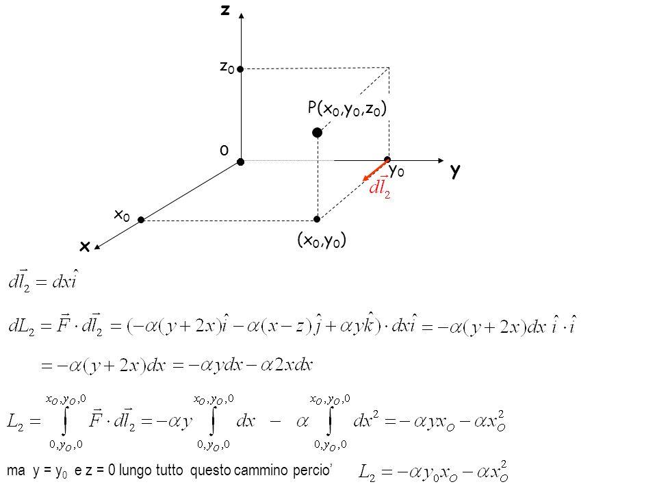 z z0 P(x0,y0,z0) O y0 y x0 (x0,y0) x ma y = y0 e z = 0 lungo tutto questo cammino percio'