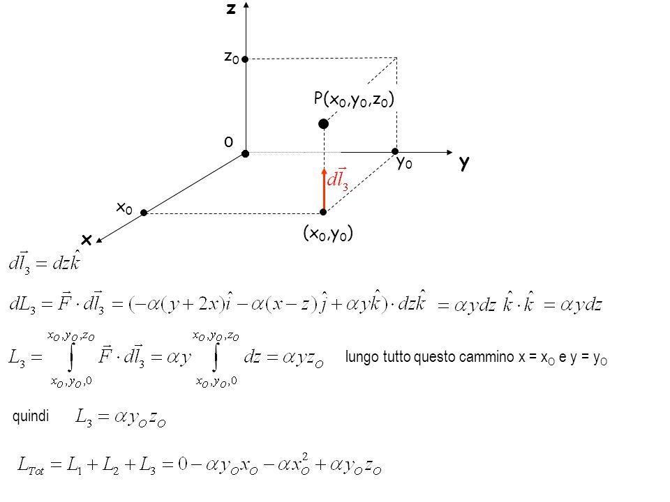 z z0 P(x0,y0,z0) O y0 y x0 (x0,y0) x lungo tutto questo cammino x = xO e y = yO quindi