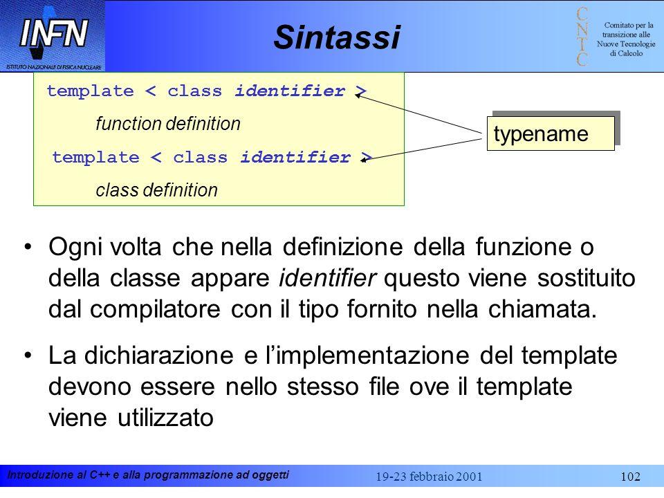 Sintassitemplate < class identifier > function definition. class definition. typename.