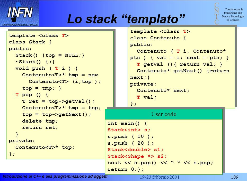Lo stack templato User code template <class T>