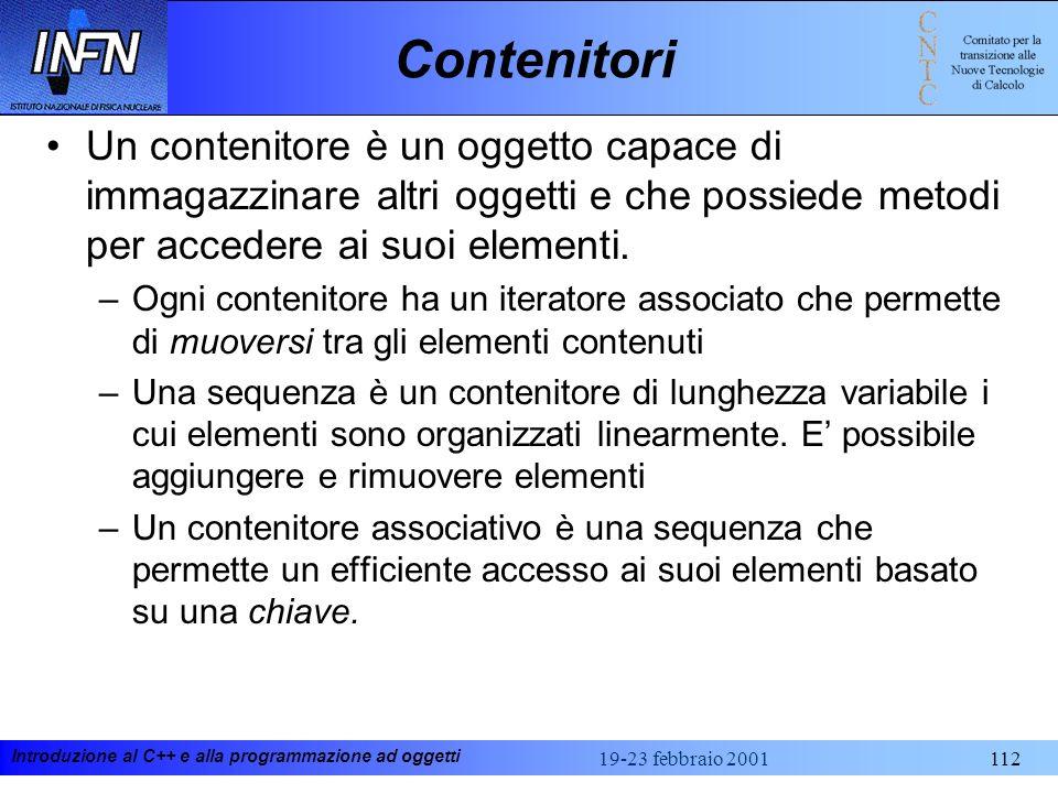 Contenitori Un contenitore è un oggetto capace di immagazzinare altri oggetti e che possiede metodi per accedere ai suoi elementi.