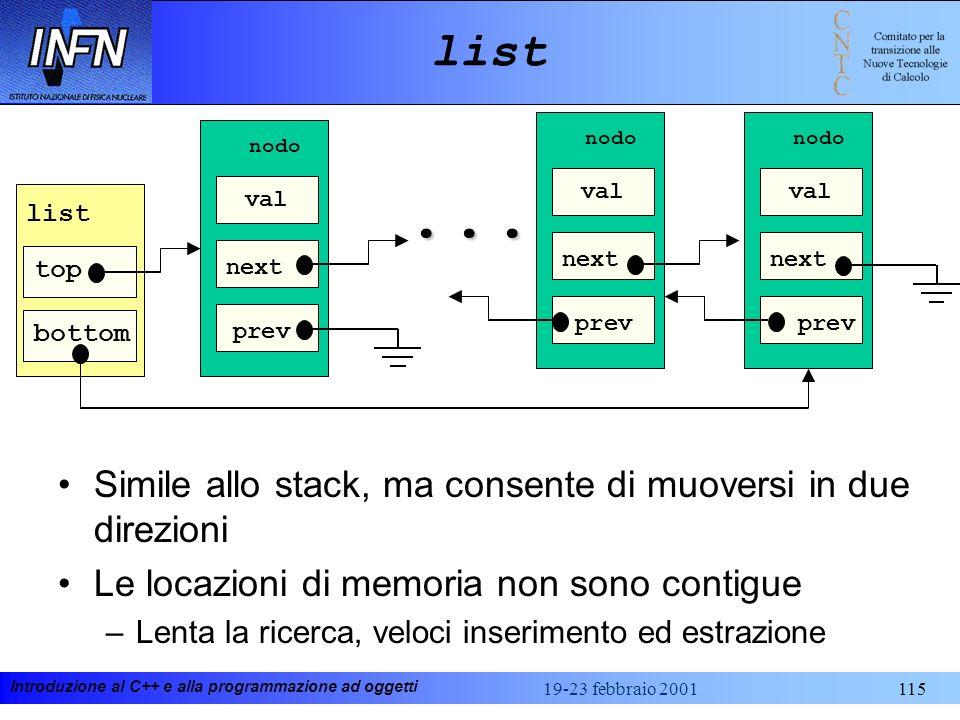 ... list Simile allo stack, ma consente di muoversi in due direzioni