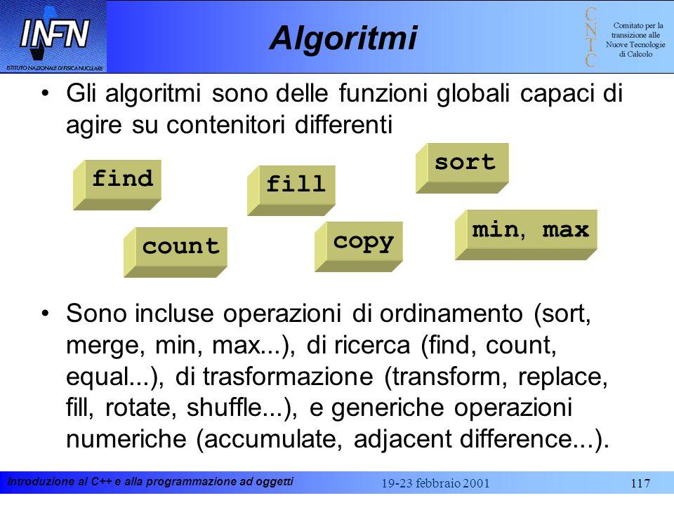 Algoritmi Gli algoritmi sono delle funzioni globali capaci di agire su contenitori differenti.