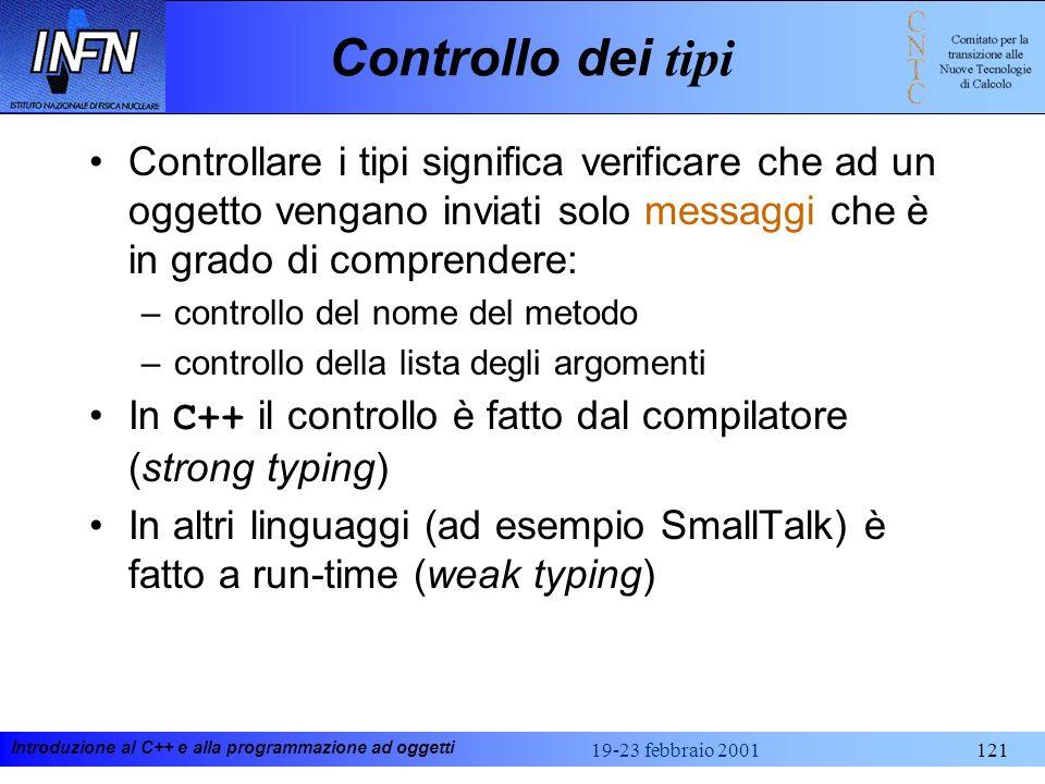 Controllo dei tipi Controllare i tipi significa verificare che ad un oggetto vengano inviati solo messaggi che è in grado di comprendere:
