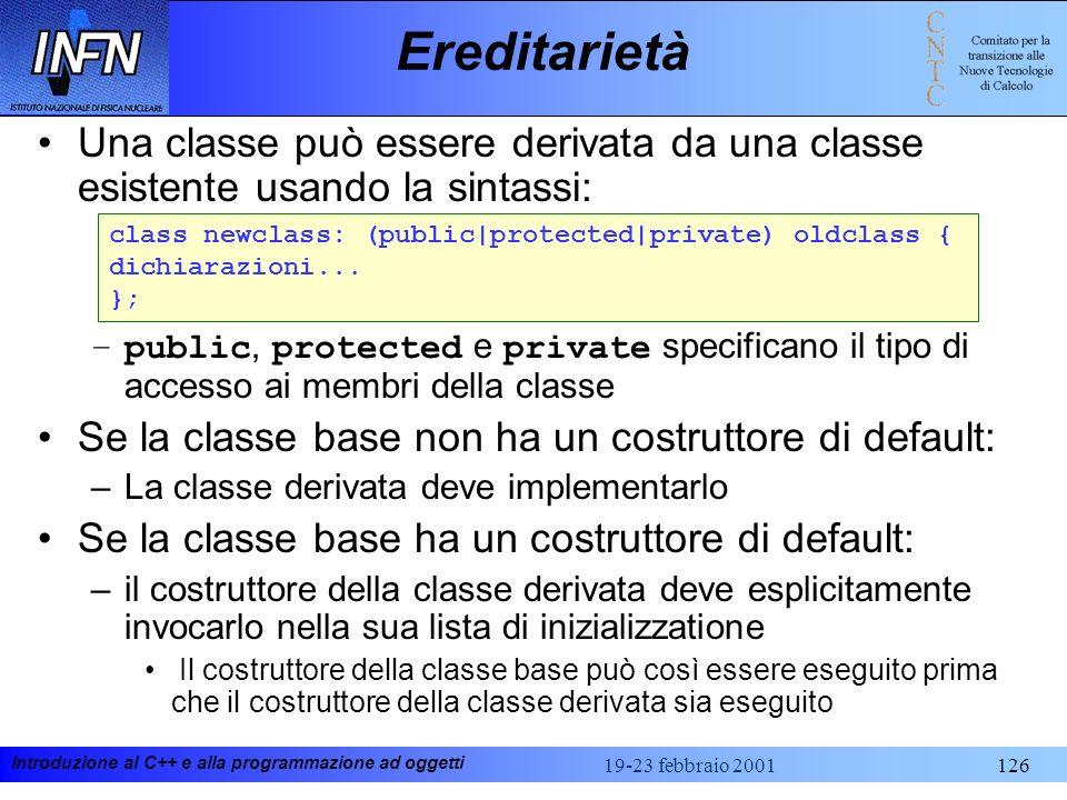 Ereditarietà Una classe può essere derivata da una classe esistente usando la sintassi: