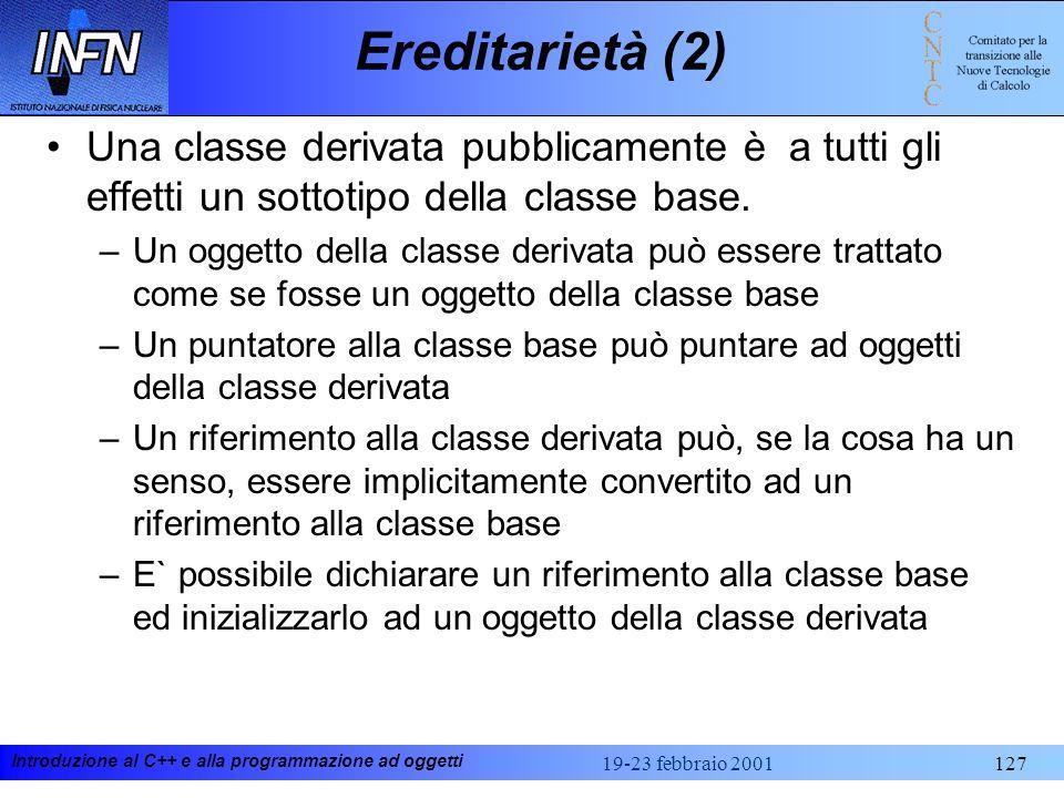 Ereditarietà (2) Una classe derivata pubblicamente è a tutti gli effetti un sottotipo della classe base.