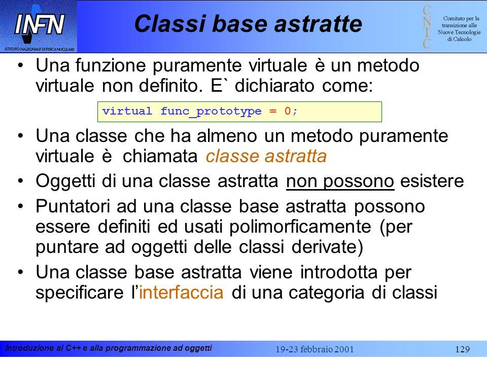 Classi base astratte Una funzione puramente virtuale è un metodo virtuale non definito. E` dichiarato come: