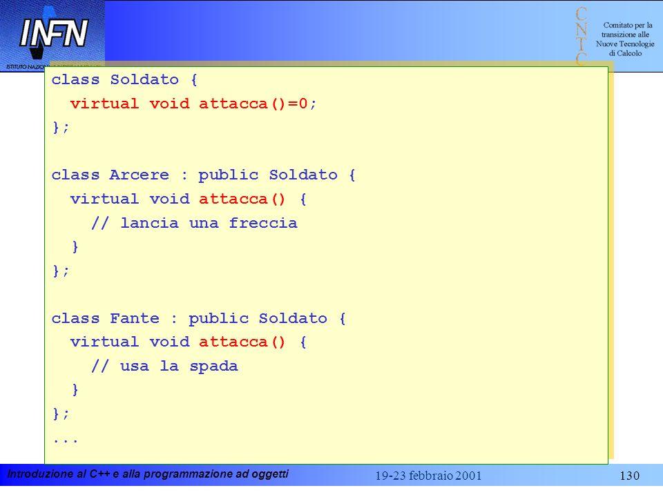 virtual void attacca()=0; }; class Arcere : public Soldato {