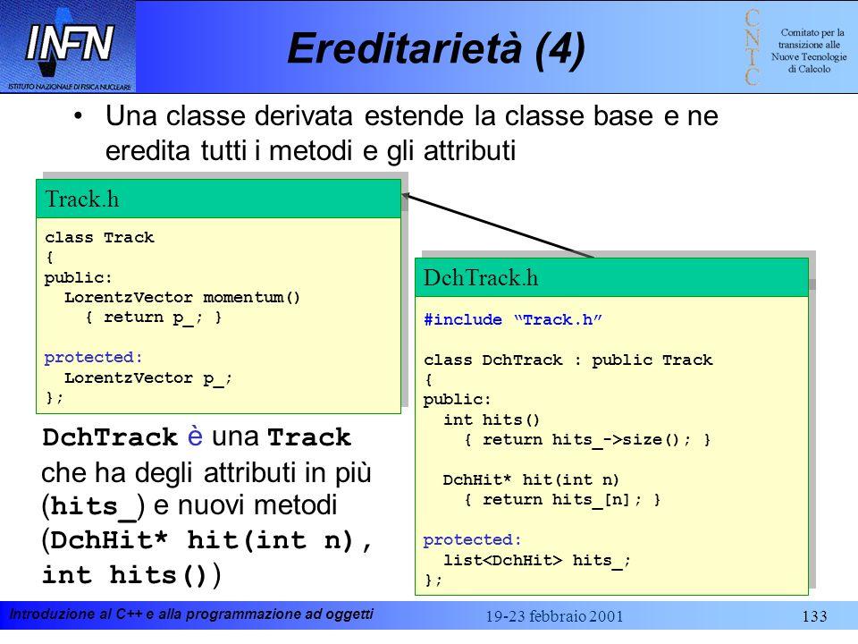Ereditarietà (4) Una classe derivata estende la classe base e ne eredita tutti i metodi e gli attributi.