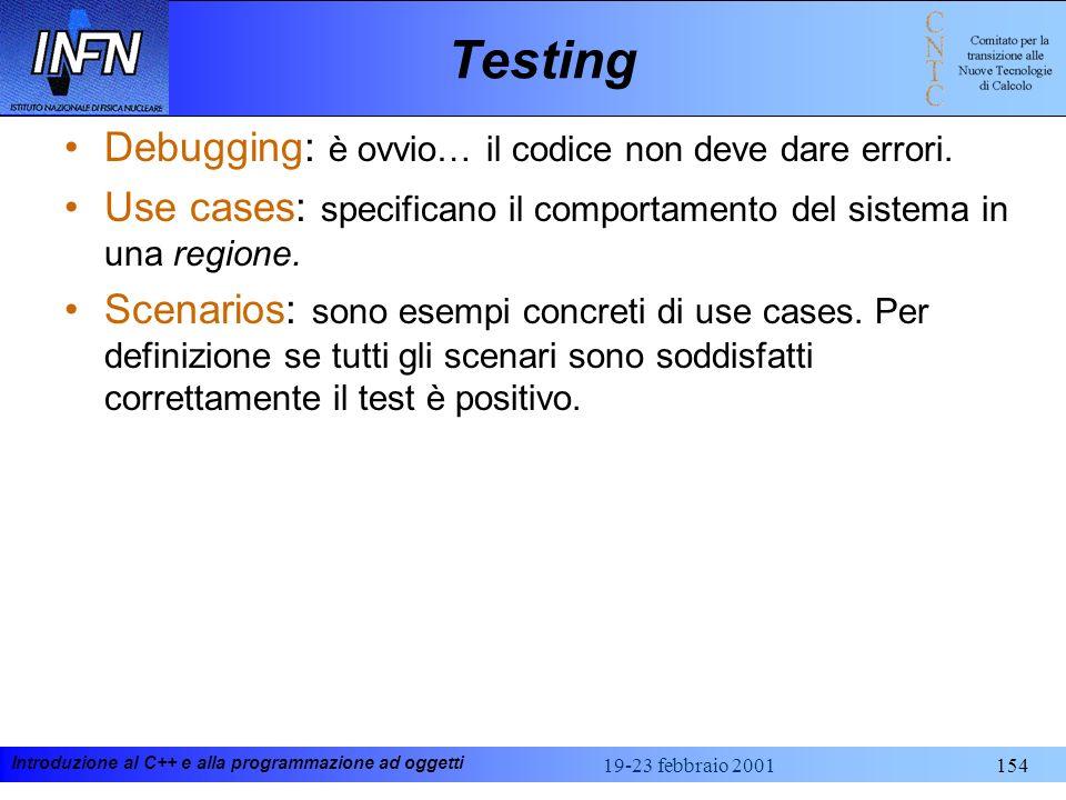 Testing Debugging: è ovvio… il codice non deve dare errori.