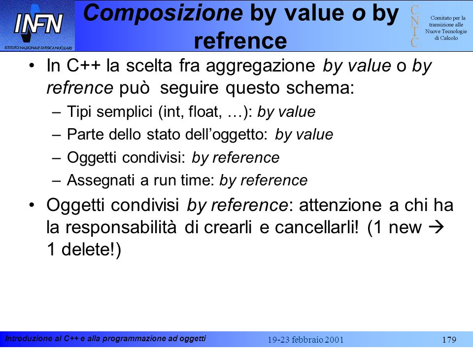 Composizione by value o by refrence