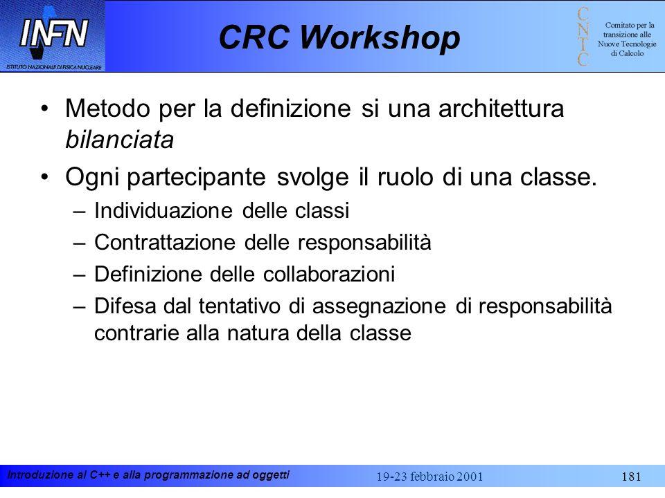 CRC Workshop Metodo per la definizione si una architettura bilanciata