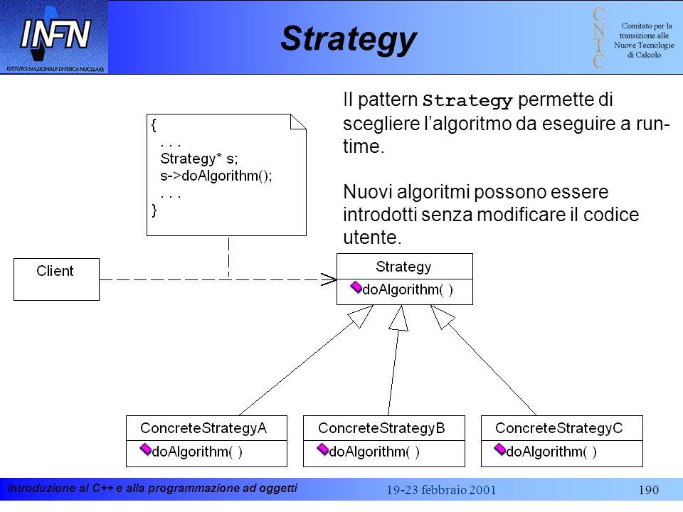 Strategy Il pattern Strategy permette di scegliere l'algoritmo da eseguire a run-time.