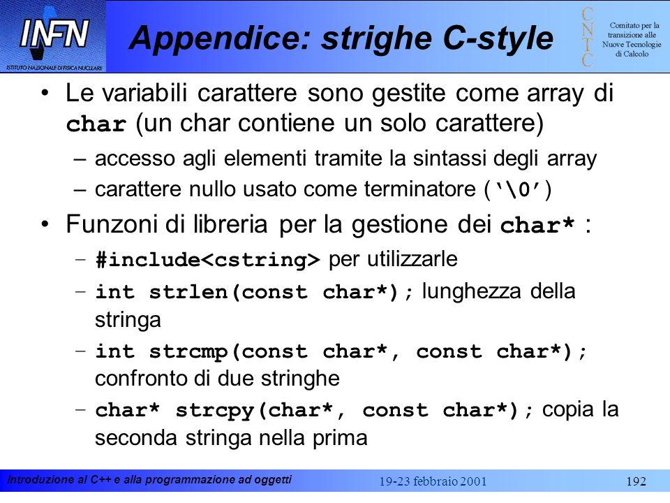 Appendice: strighe C-style