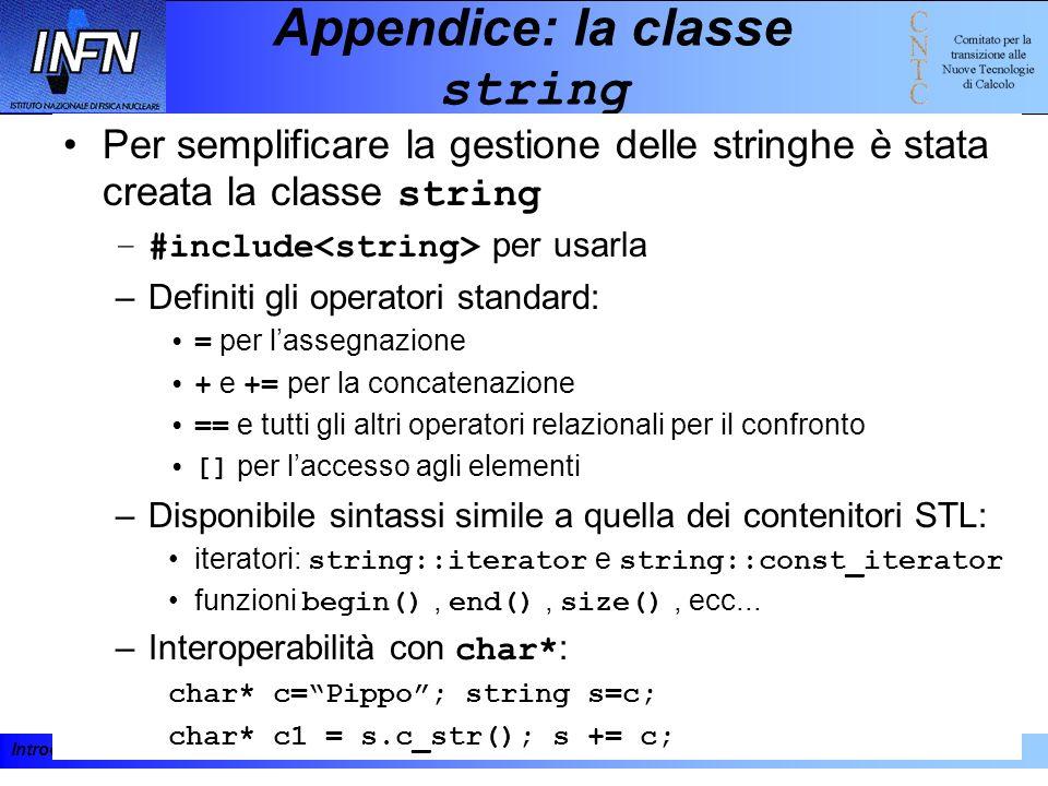 Appendice: la classe string