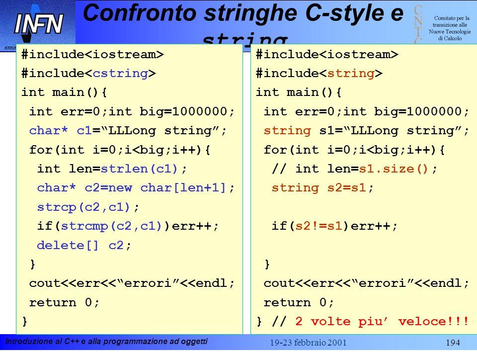 Confronto stringhe C-style e string