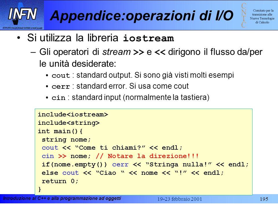 Appendice:operazioni di I/O