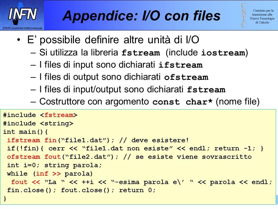 Appendice: I/O con files