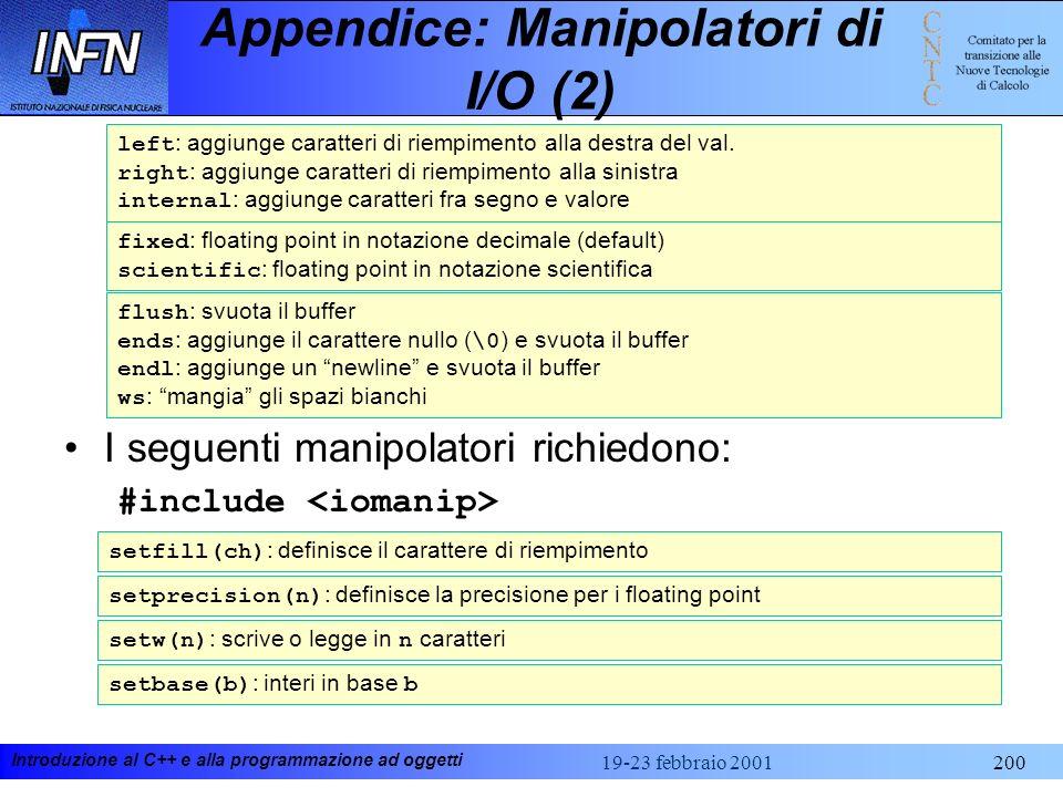 Appendice: Manipolatori di I/O (2)