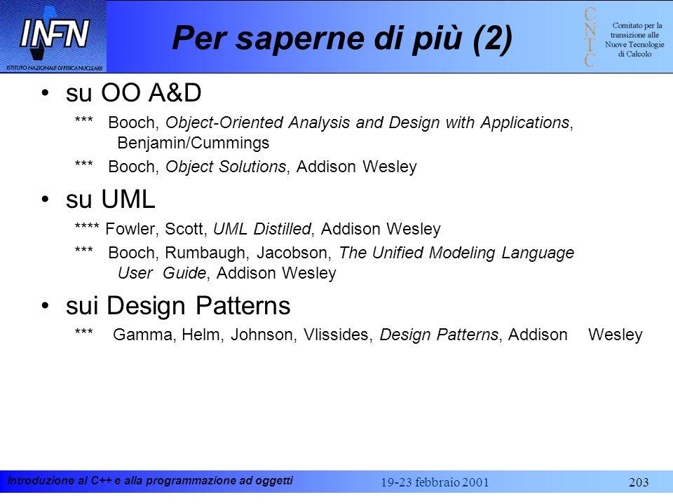 Per saperne di più (2) su OO A&D su UML sui Design Patterns