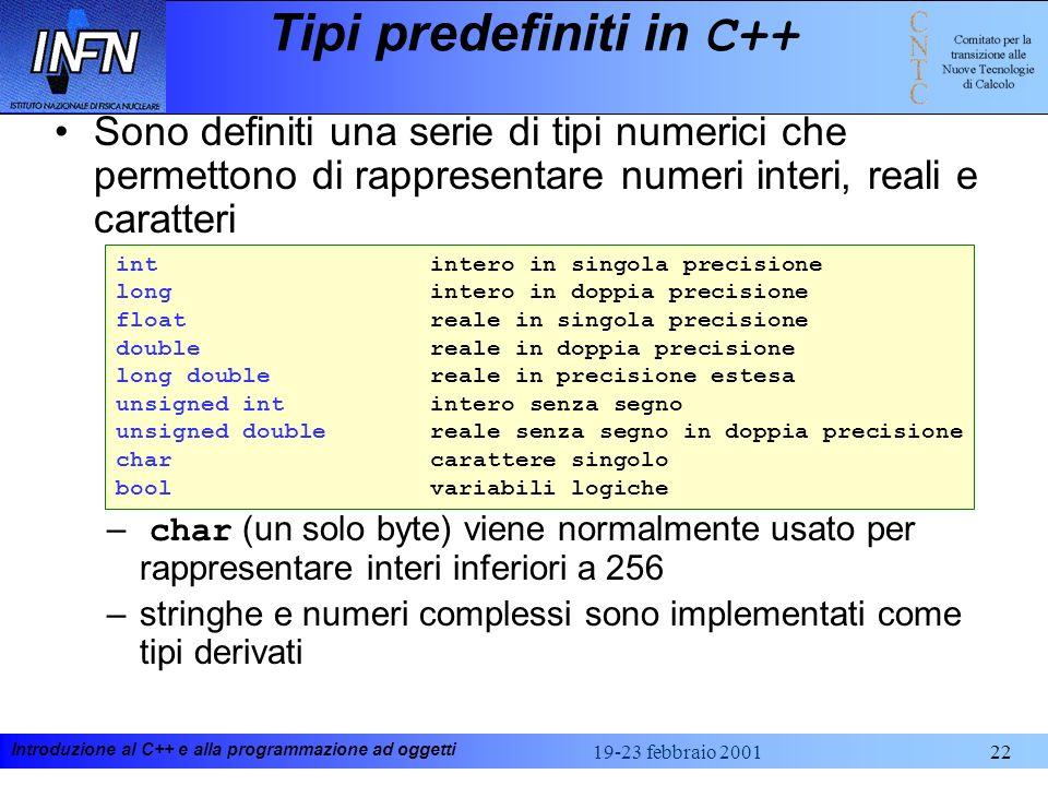 Tipi predefiniti in C++