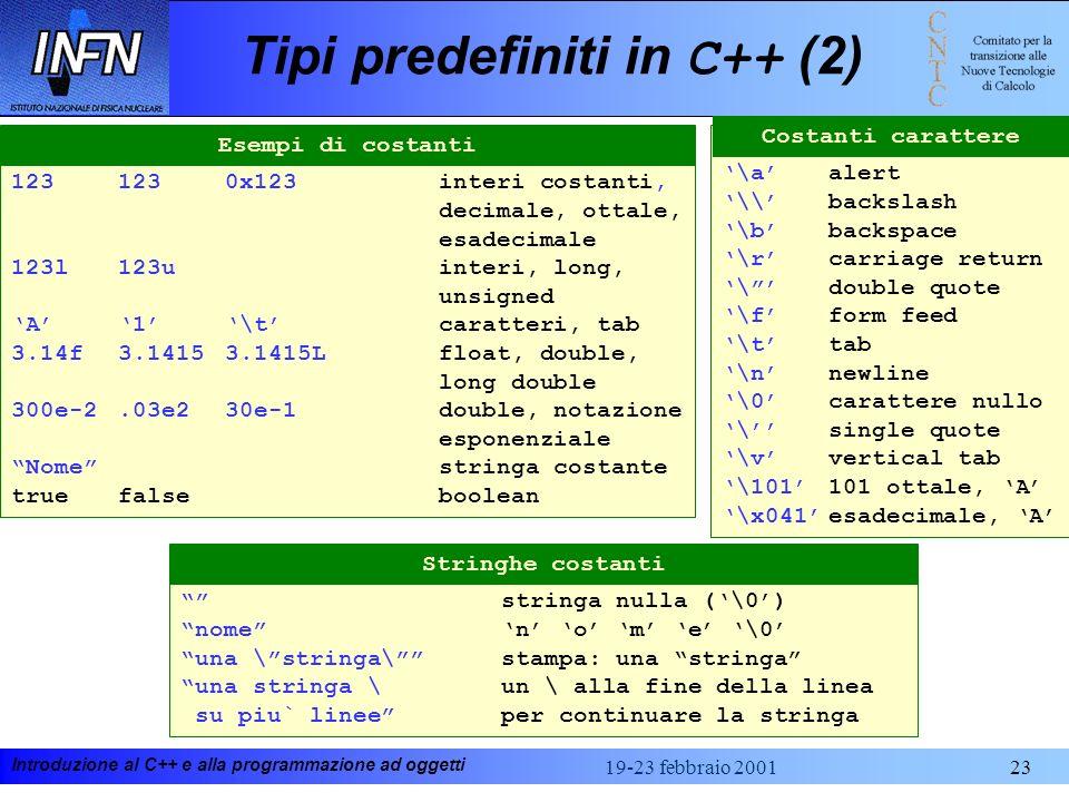 Tipi predefiniti in C++ (2)