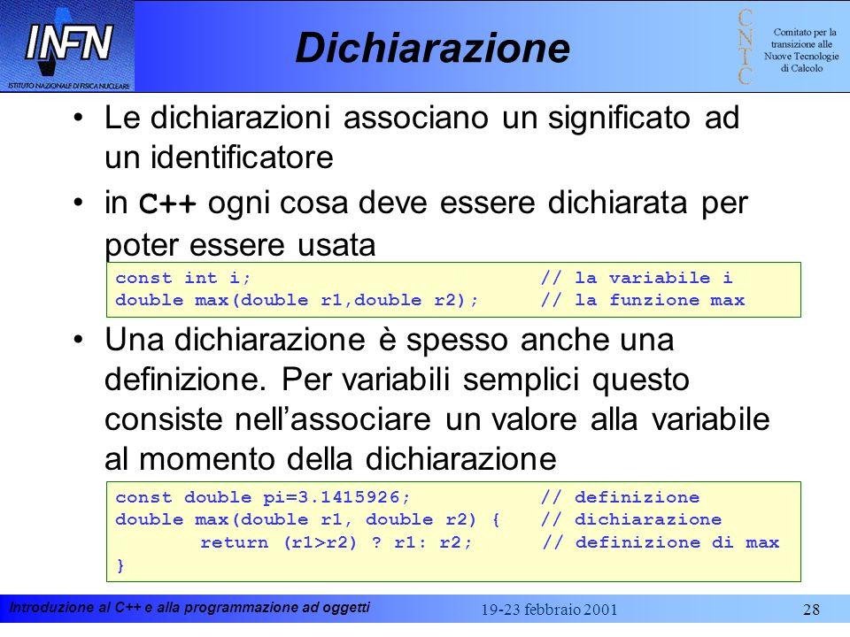Dichiarazione Le dichiarazioni associano un significato ad un identificatore. in C++ ogni cosa deve essere dichiarata per poter essere usata.