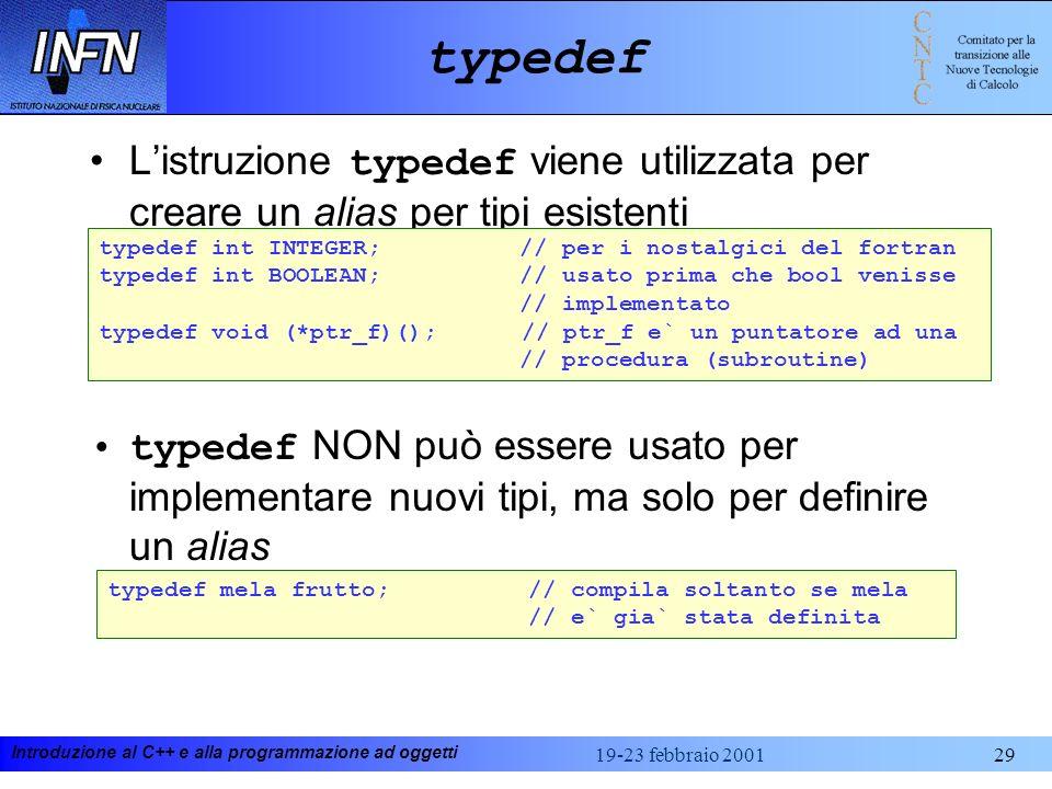 typedef L'istruzione typedef viene utilizzata per creare un alias per tipi esistenti.