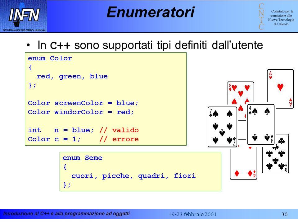 Enumeratori In C++ sono supportati tipi definiti dall'utente