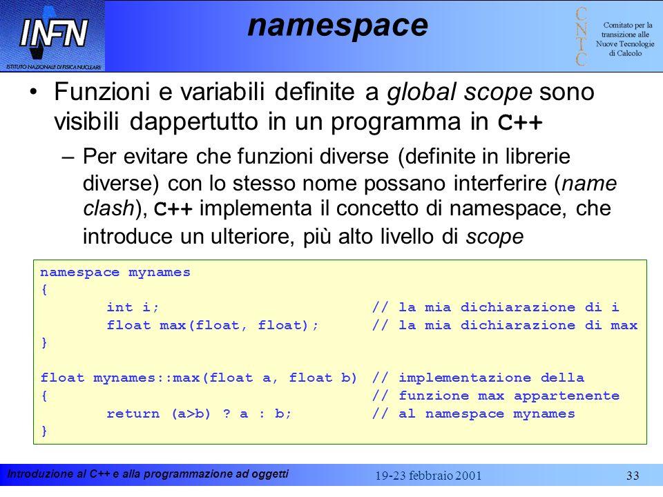 namespaceFunzioni e variabili definite a global scope sono visibili dappertutto in un programma in C++